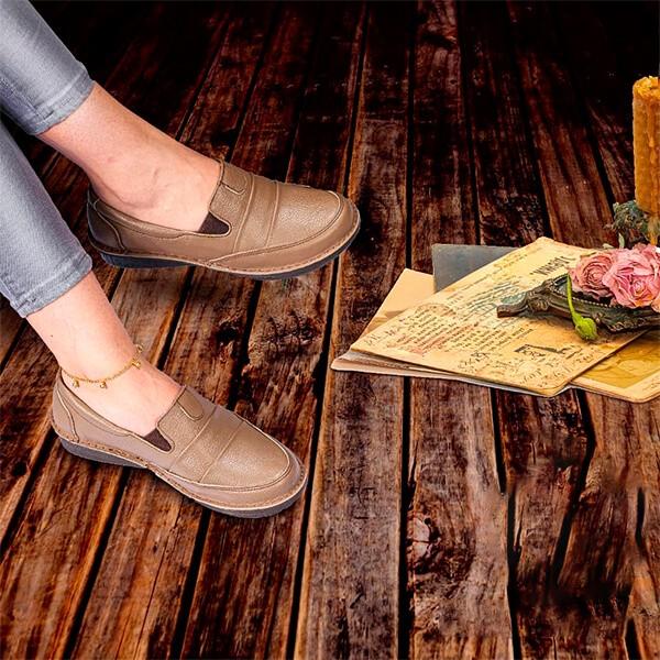 کفش طبی چرم زنانه تک معراج